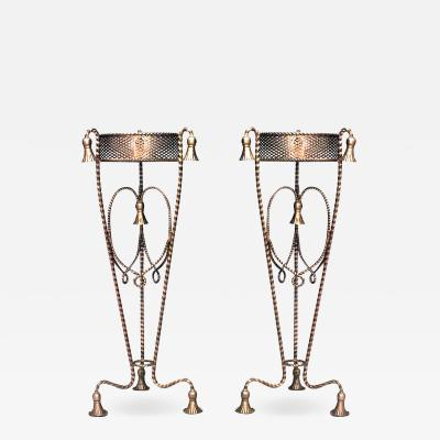 Pair of Art Moderne Rope and Tassel Pedestals