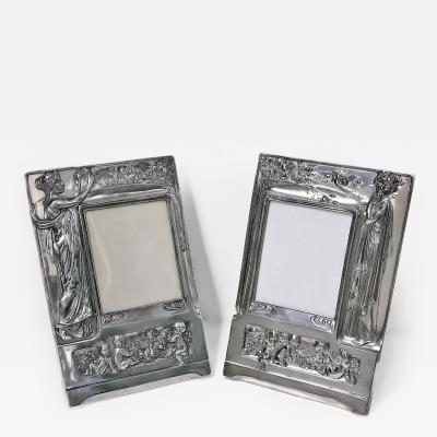 Pair of Art Nouveau Large Silver Plate Photograph Frames Germany C 1900