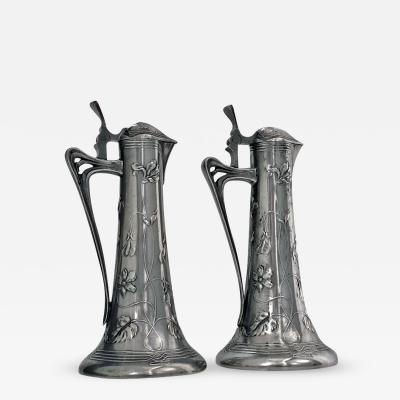 Pair of Art Nouveau Pewter Liquor Jugs Germany C 1900