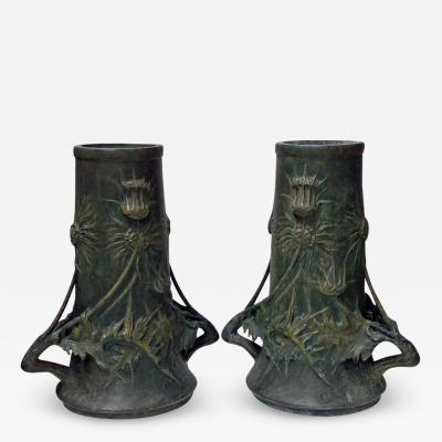 Pair of Art Nouveau Vases Blanche Poccard de Saintilau French circa 1900