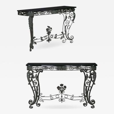 Pair of Art Nouveau Wrought Iron Antique Black Stone Console Tables