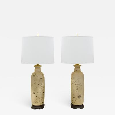 Pair of Artisan Ceramic Asian Style Table Lamps 1960s