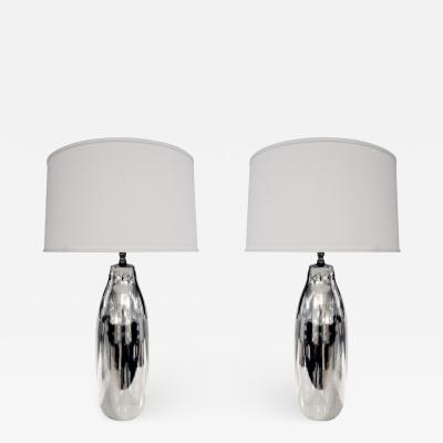 Pair of Artisan Mercury Glass Table Lamps 1970s