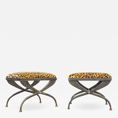 Pair of Artisan Steel Benches with Leopard Print Seats 1970s