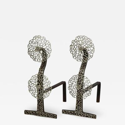 Pair of Arts Crafts Cow Parsley Andirons