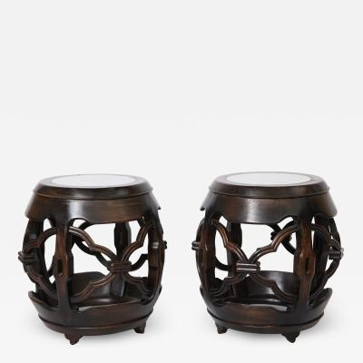 Pair of Asian Marble Topped Tables