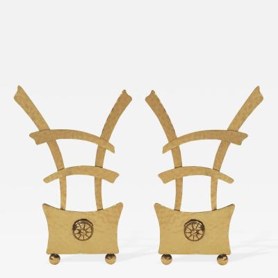 Pair of Asian Style Andirons in Brass