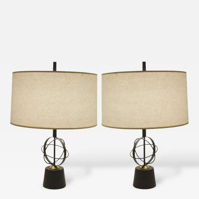 Pair of Astrolabe Form Mid Century Table Lamps