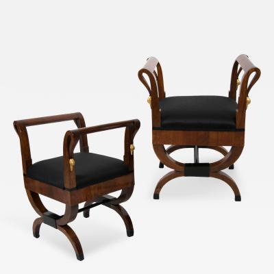 Pair of Austrian Neoclassical Stools Circa 1820