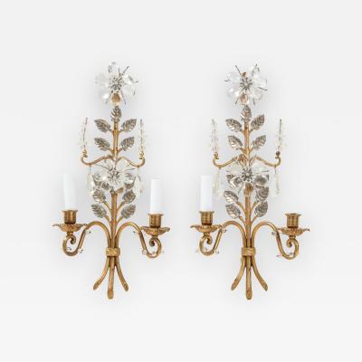 Pair of Bagues Floral Sconces