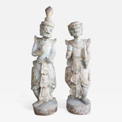 Pair of Balinese Carved Wood Statues 19th Century