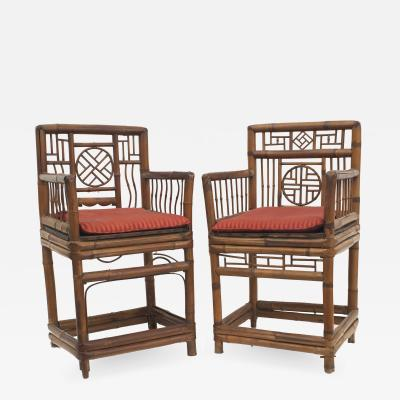 Pair of Bamboo 1st qtr 20th Cent Arm Chairs
