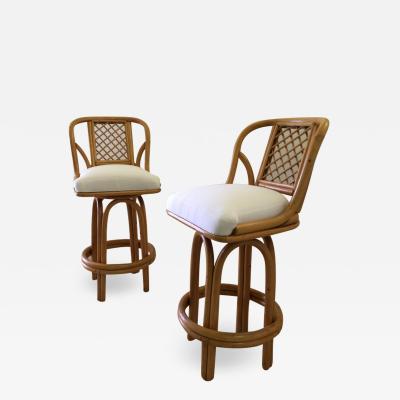 Pair of Bamboo Tall Swivel Bar Stools Vintage Sunbrella Fabric
