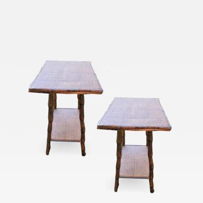 Pair of Bamboo and Cane End Tables