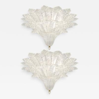 Pair of Barovier Toso Glass Plume Chandeliers
