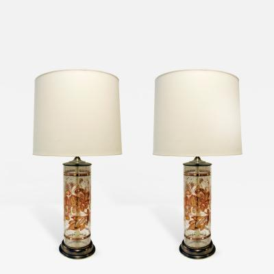 Pair of Beautiful Hand Painted Glass Table Lamps 1940s