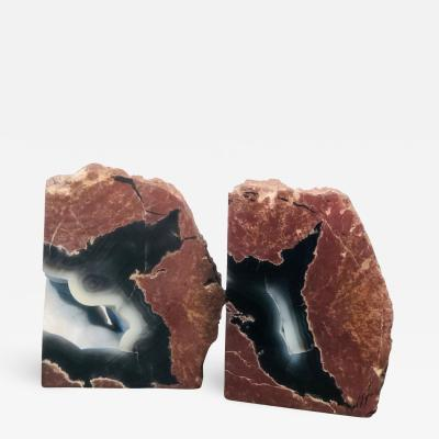 Pair of Beautiful Petrified Wood Geode Book Ends