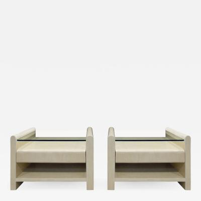 Pair of Bedside Tables in Lacquered Tesselated Bone 1970s