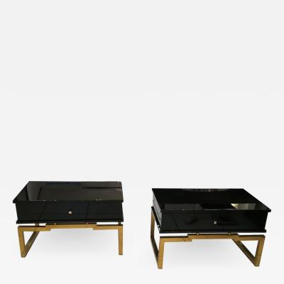 Pair of Bedsides or End Tables in Lacquered Wood circa 1970