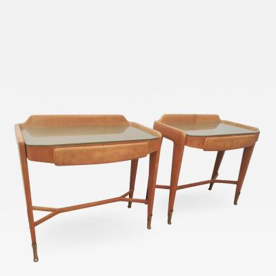 Pair of Bedsides or End Tables in Wood circa 1940 1950