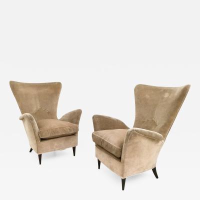Pair of Beige Velvet Armchairs Italy 1950s