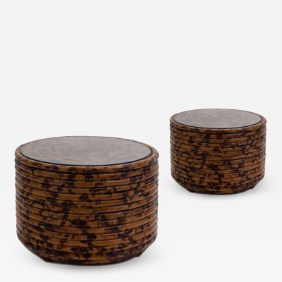 Pair of Bent Bamboo Drum Tables In Tortoise Finish