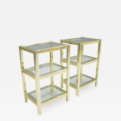 Pair of Bi Color Etagere Tables in Brass Chrome and Glass F rance 1970s