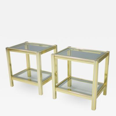 Pair of Bi Color Side Tables in Brass Glass and Chrome France 1970s