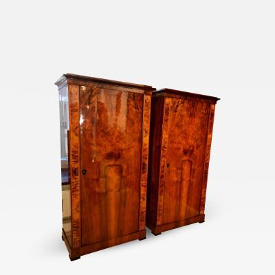 Pair of Biedermeier Armoires with Convex Doors ca 1830