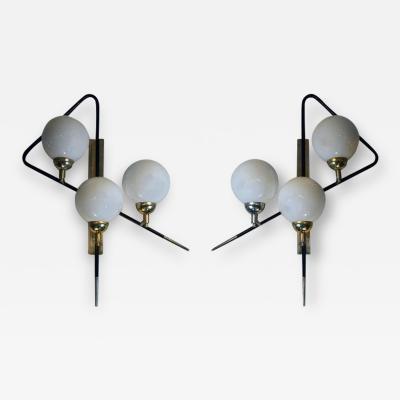 Pair of Black Asymmetrical Sconces w White Opaline Glass Boules