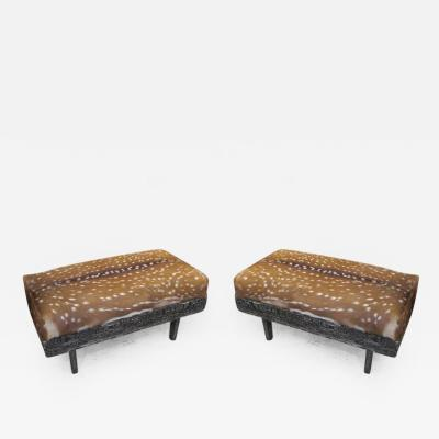 Pair of Black Cerused Oak Deer Hide Upholstered Benches