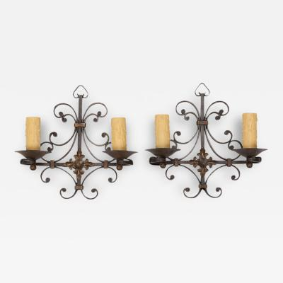 Pair of Black Iron Sconces with Fancy Back Plate