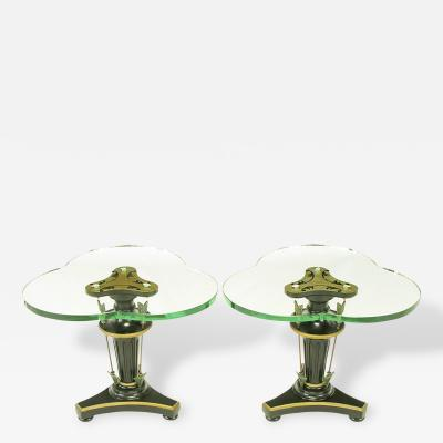 Pair of Black Lacquer Parcel Gilt Empire Side Tables with Arrow Details