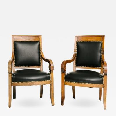 Pair of Black Lambskin Charles X Chairs