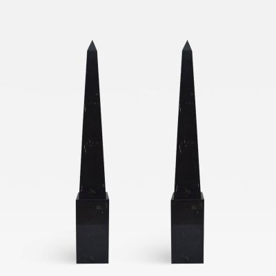 Pair of Black Marble Floor Obelisks