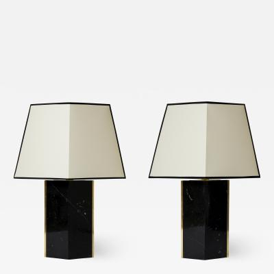 Pair of Black Marble and Brass Table Lamp by Dorian Caffot de Fawes