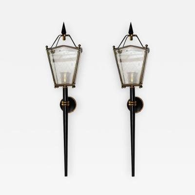 Pair of Black Metal Brass and Glass Lantern Wall Sconces