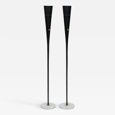 Pair of Black Metal Floor Lamps with Marble Feet and Brass Accents