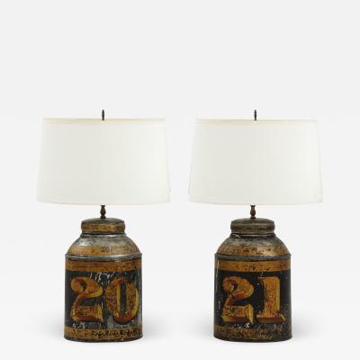 Pair of Black Oval Tea Tin Lamps