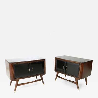 Pair of Black Walnut and Ebonized Wood Nightstands with a Glass Top 1950s