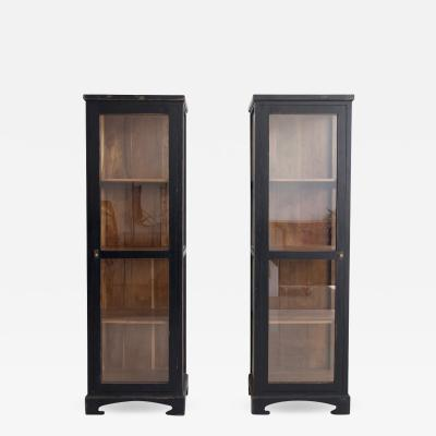 Pair of Black Wooden Vitrine Cabinets