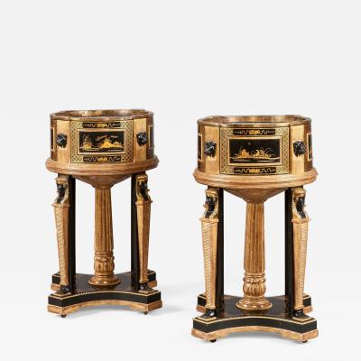 Pair of Black and Gilt Chinoiserie and Egyptian Motif Jardini res