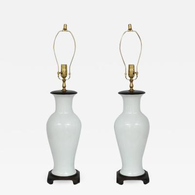 Pair of Blanc de Chine Vase Form Table Lamps