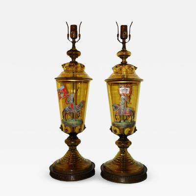 Pair of Blown Glass Table Lamps