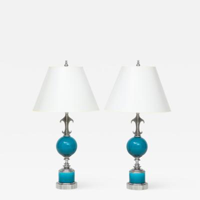 Pair of Blue Ceramic Nickel Plated Metal Lamps