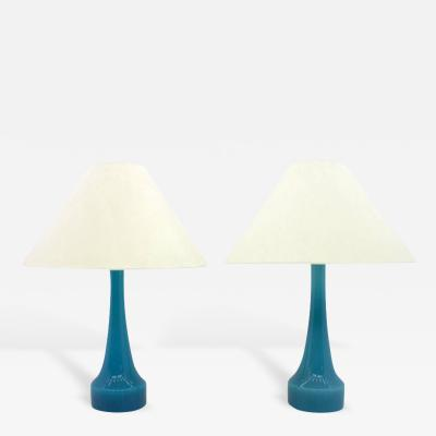 Pair of Blue Glass Table Lamps by Holmegaard Denmark 1960s