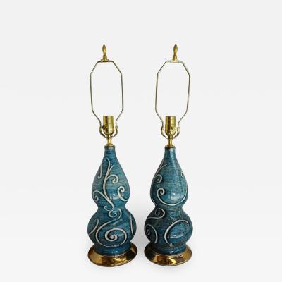 Pair of Blue Glazed French Porcelain Lamps