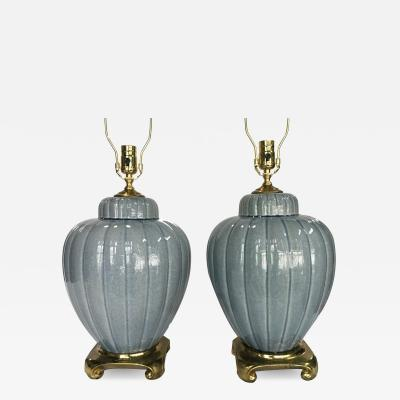 Pair of Blue Gray Glazed Porcelain Table Lamps