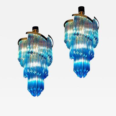 Pair of Blue Murano Prism Chandelier with Golden Frame 1980