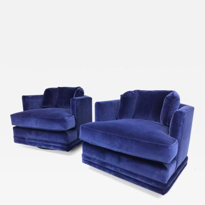 Pair of Blue Velvet Hex Back Swivel Chairs
